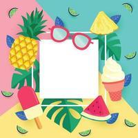 crème glacée et fusion de fruits vecteur