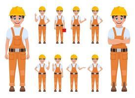 illustration de conception de vecteur de travailleur garçon isolé sur fond blanc