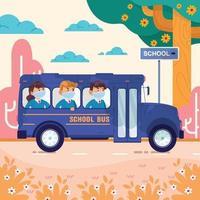 autobus scolaire sur le chemin de l & # 39; école vecteur