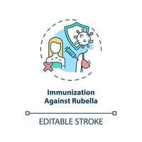 immunisation contre l & # 39; icône de concept de rubéole vecteur