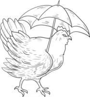 contour poule avec parapluie parfait pour coloriage vecteur