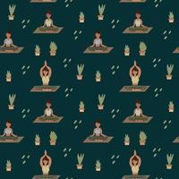 fond de yoga. les filles font du pilates, méditation avec de la verdure. un motif pour les textiles avec des personnes dans des poses différentes vecteur