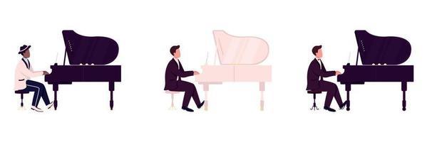 Divers joueurs de piano jeu de caractères sans visage de vecteur de couleur plate