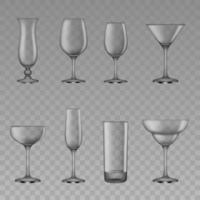ensemble de verres à cocktail vides vecteur