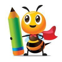 dessin animé mignon abeille avec manteau rouge tenant énorme crayon de couleur verte vecteur
