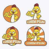 ensemble de logo d & # 39; un poulet de dessin animé avec texte vecteur