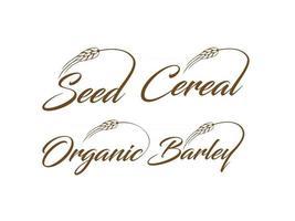 Signe de logo de mot-symbole bio et orge de céréales de semences vecteur