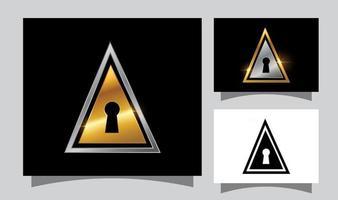 signe de trou de clé de porte dorée vecteur
