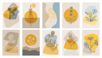 affiches abstraites aux herbes amères, ensemble. éléments géométriques abstraits et fleurs, feuilles et baies vecteur
