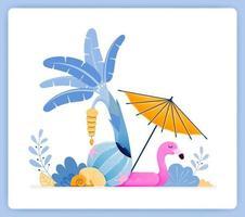 Voyagez sur une île tropicale avec des vibrations de plage et des bananiers. peut être utilisé pour les pages de destination, les sites Web, les affiches, les applications mobiles vecteur