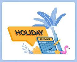 3d vacances dans le calendrier de la boîte de commentaires pour les vacances de fin d'année. peut être utilisé pour les pages de destination, les sites Web, les affiches, les applications mobiles vecteur