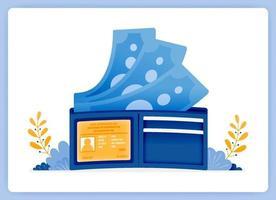 portefeuille avec de l'argent volant, économisez de l'argent de manière traditionnelle. peut être utilisé pour les pages de destination, les sites Web, les affiches, les applications mobiles vecteur
