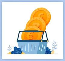 acheter et échanger de l'argent sur les échanges de devises, les achats de fonds communs de placement. peut être utilisé pour les pages de destination, les sites Web, les affiches, les applications mobiles vecteur