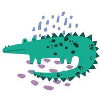 crocodile jungle animal faune dessin animé style dessiné à la main vecteur