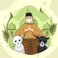 célébration eid adha avec musulman et deux chèvres vecteur