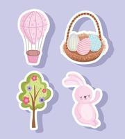 ensemble, joyeuses pâques, mignon, lapin, oeuf, panier, arbre, fleurs, et, ballon air vecteur