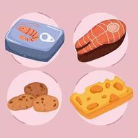 aliments sains bifteck de poisson fromage biscuit et crevettes en conserve vecteur