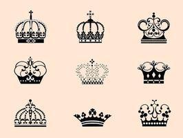 9 vecteurs de couronnes détaillées vecteur