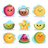collections d'autocollants de fruits d'été vecteur