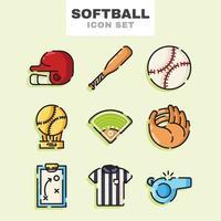 jeu d'icônes de softball vecteur
