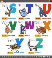 lettres de l'alphabet de dessin animé éducatif pour les enfants de s à z vecteur