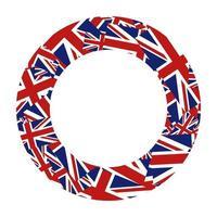 bordure ronde du drapeau union jack vecteur
