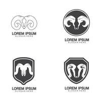 béliers chèvre tête logo icône design illustration vectorielle vecteur