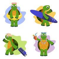 tortue de dessin animé dans des poses différentes vecteur