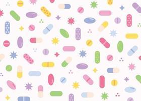 conception de fond de modèle de pilule colorée mignonne. modèle de conception de modèle simple. vecteur
