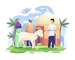 les gens apportent une chèvre pour qurban ou un sacrifice en illustration vectorielle eid al adha mubarak vecteur