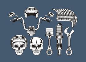 huit icônes de moto vecteur