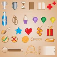 ressources et interfaces du jeu d'icônes vecteur