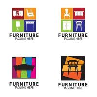 concept de design de logo de meubles abstraits vecteur