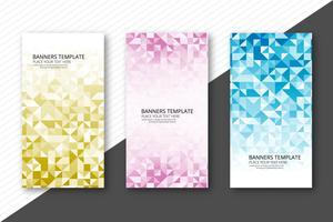Scénographie de bannières géométriques colorées abstraites vecteur