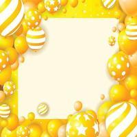 cadre de ballons jaunes vecteur