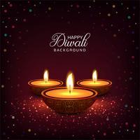 Joyeux diwali diya festival de lampe à huile coloré fond de carte