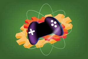 Développement de jeux en ligne vecteur coloré signe symbole joystick gear et rayon