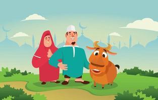 célébrer l'Aïd adha avec une chèvre vecteur