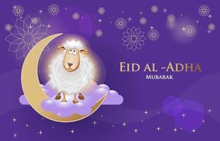 eid al adha agneau dans la lune vecteur