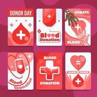cartes de donneur de sang simples et amusantes vecteur