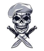 crâne avec des couteaux vecteur