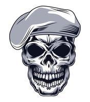crâne avec béret vecteur