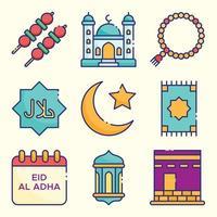 ensemble d'icônes eid al adha vecteur