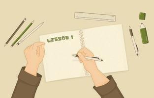 dessin animé, mains, écriture, dans, livre cours vecteur