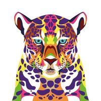 icône de technicolor de la vie sauvage léopard vecteur