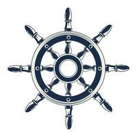 Icône d'élément vintage gris nautique gouvernail de bateau vecteur