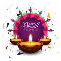 Belle carte de voeux pour le festival joyeux diwali fond vec vecteur