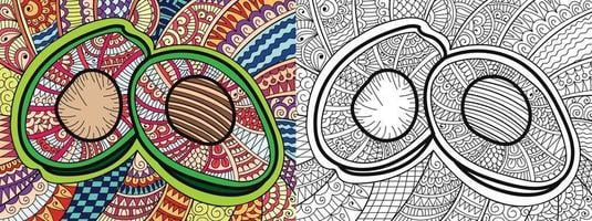 Doodle fruit avocat page de livre de coloriage pour adultes et enfants modèle de thérapie anti-stress abstrait zen enchevêtrement yoga méditation illustration vectorielle vecteur