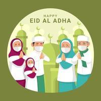 la famille célèbre eid al adha avec protocole vecteur