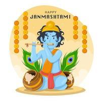 célébration de janmashtami avec krishna jouant de la flûte vecteur